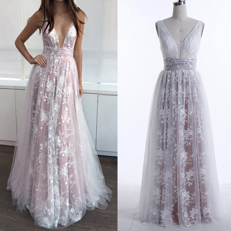 Plus Size Wedding Gown Patterns: Long Beach Champagne Lining White Lace Wedding Dress 2019