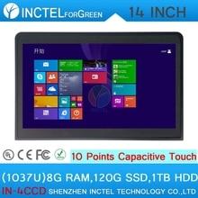 14 дюймов сенсорный экран all in one pc промышленные embedded все в один 8 Г RAM 120 Г HDD SSD 1 ТБ с Intel Celeron 1037u 1.8 ГГц ПРОЦЕССОР