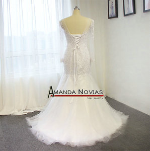 Image 5 - Amanda Novias Real Photos 100% Mermaid Lace Wedding Dress With Detachable Train