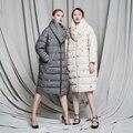 2016 Fluido para baixo casaco vintage da moda solta casuais médio-longo fêmea para baixo pato Branco para baixo Grosso Completo