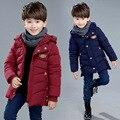 2016 детей новый мальчик в зимний ветер куртка носить хлопок проложенный одежды подол щель детей от имени из