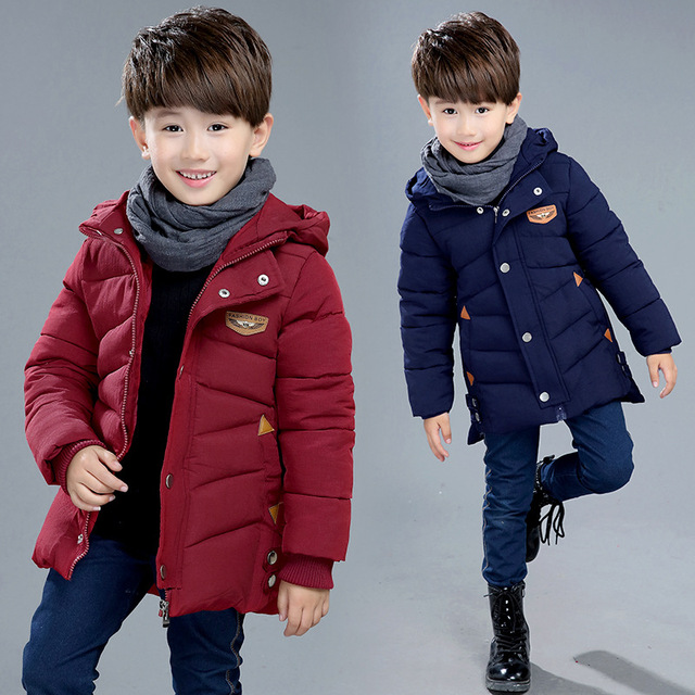 2016 school children's new boy in the winter wind jacket wear a cotton padded clothes hem slit children on behalf of