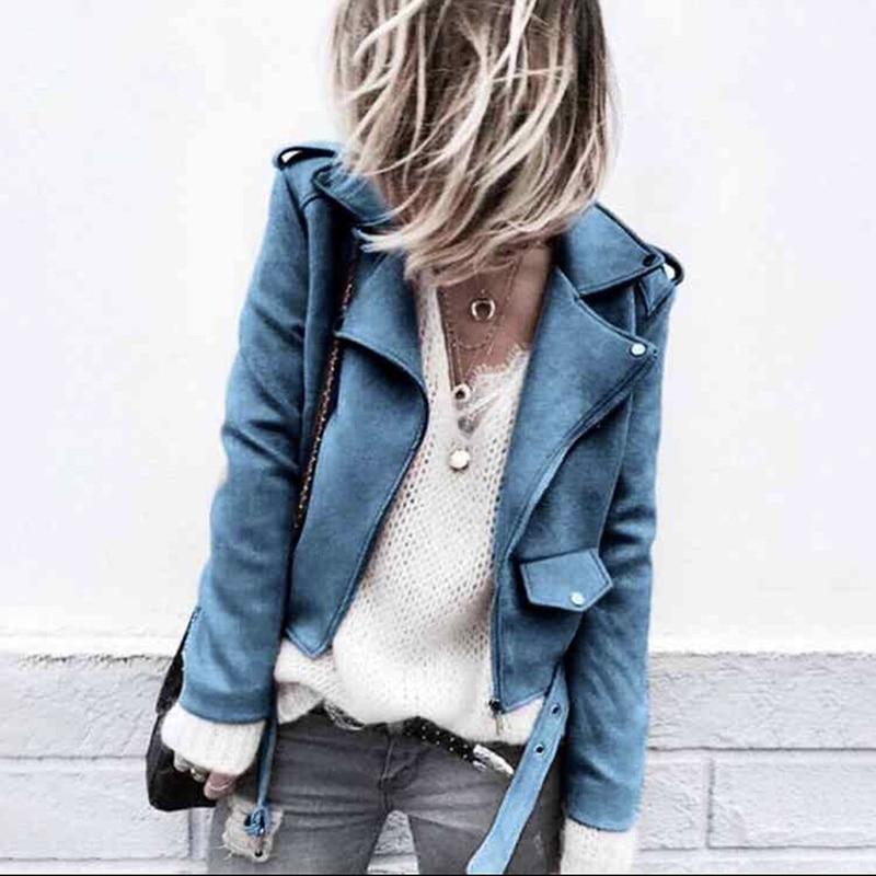 Autumn Fashion Short Fabric Jacket For Women Zipper Motorcycle PU Leather Jacket Ladies Basic Streetwear Jackets Coat 2018