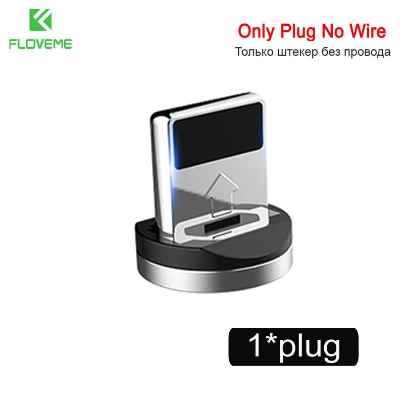 FLOVEME 1 м Магнитный кабель для зарядки, Micro USB кабель для iPhone XR XS Max X магнит зарядное устройство Тип C светодио дный LED зарядки провода шнур магнитная зарядка usb кабель type cзарядка для айфона micro usb - Цвет: Only Plug