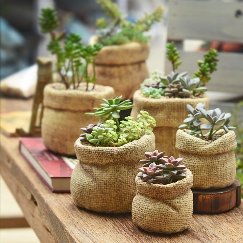 Buy classic linen bag style ceramic Cactus pots for sale