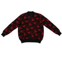 Высокого качества 100% козья кашемир толстой вязки Женская мода жаккардовый пуловер, свитер бусинами воротник Роза красная 2 вида цветов L 3XL