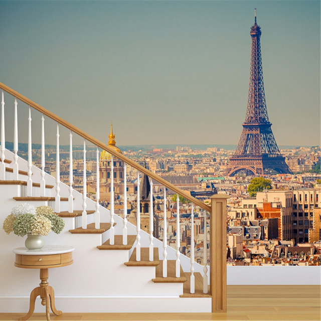 Vue Sur Tour Eiffel Paris France Photowall Murale Papier Peint