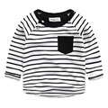 Baby long sleeved T-shirt 2017 spring new kids children roundneck striped shirt Korean boy T shirt
