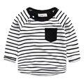 Bebé de manga larga T-shirt 2017 primavera new kids niños camisa a rayas de cuello redondo Coreano camiseta del muchacho