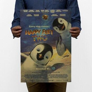 Alta calidad, pies felices/película clásica de dibujos animados/papel kraft/póster para bar/póster Retro/pintura decorativa 51x35.5cm/138