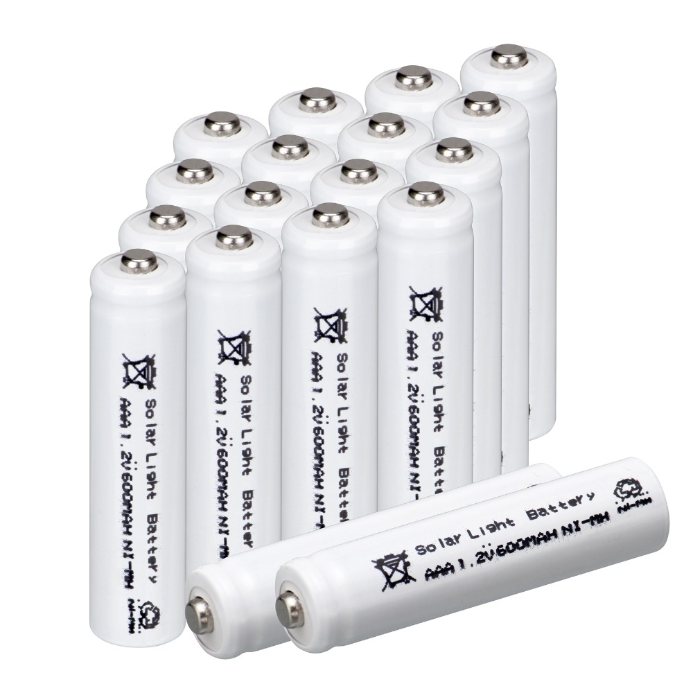 White color for 20 pcs AAA solar battery Solar Light Batteries Rechargeable 1.2V 600mAh  ...