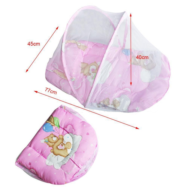 Summer Insect Cradle Baby Mosquito Net With Portable Folding Canopy Cushion+Cute Pillow Mattress Infant Bedding Accessories