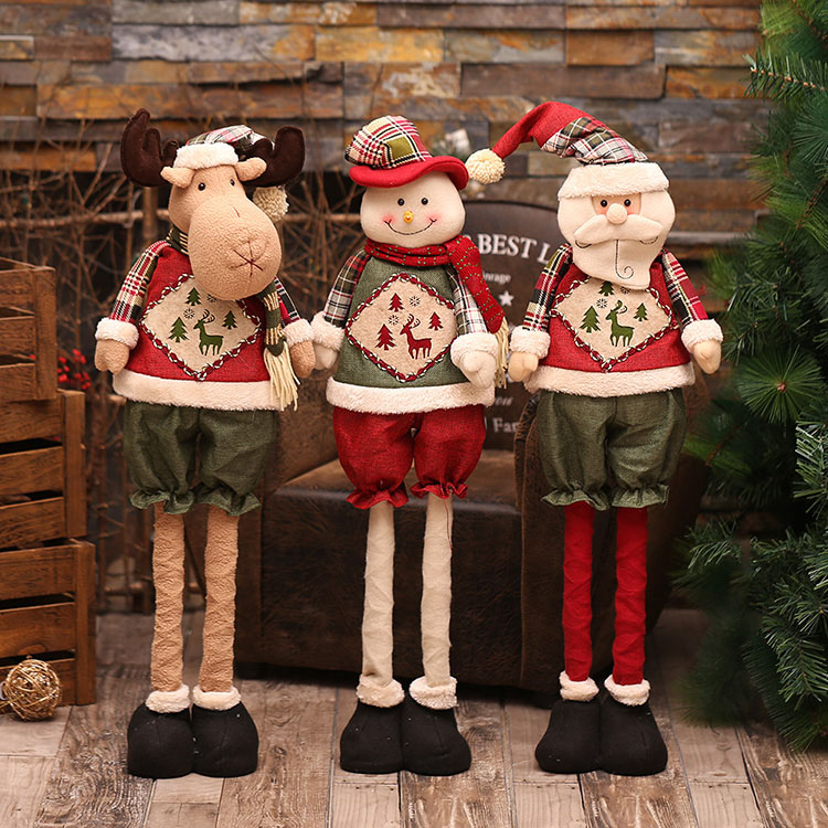 Christmas Gift Muppets Santa Claus Snowman Doll Christmas Tree Decoration Ornaments Telescopic Shop Display Window Baby Shower