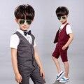 Лето мальчик джентльмен одежда дети пром костюмы мальчиков костюмы для свадеб детей жилет шорты из двух частей выпускного вечера костюм FGD10035