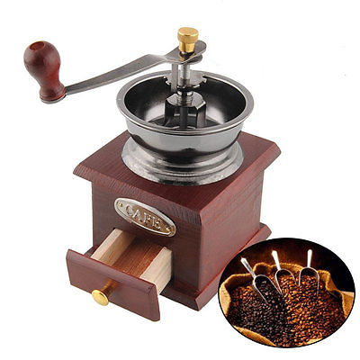 Adjustable Coffee Grinder Mini Antique Hand Crank Grind Burr Bean Mill