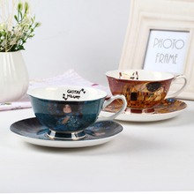 цена на Fine Bone China Oil Painting Coffee Cup Set Royal Porcelain Coffee Cup And Saucer Sets Afternoon Tea Black Tea Cup Gift Packing
