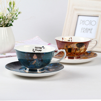 Fine Bone China Oil Painting Coffee Cup Set Royal Porcelain Coffee Cup And Saucer Sets Afternoon Tea Black Tea Cup Gift Packing
