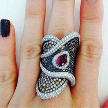 Vintage Twisted Geometric Black CZ Big Rings for Women Punk Ethnic Red Water Drop Crystal Stone Men Ring Jewelry Z4M101(China)