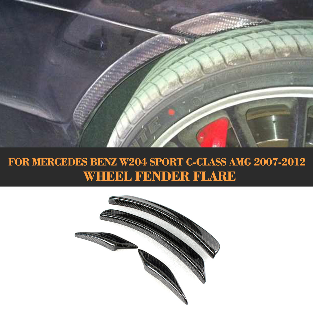 C CLASS carbon fiber car wheel arch auto wheel fender flare for Mercedes Benz W204 C63 AMG 2007 - 2012 4PCS amg style mercedes w204 carbon fiber rear trunk tail wing spoiler for benz c class w204 2007 2013 c180 c200 c300 c350 sedan