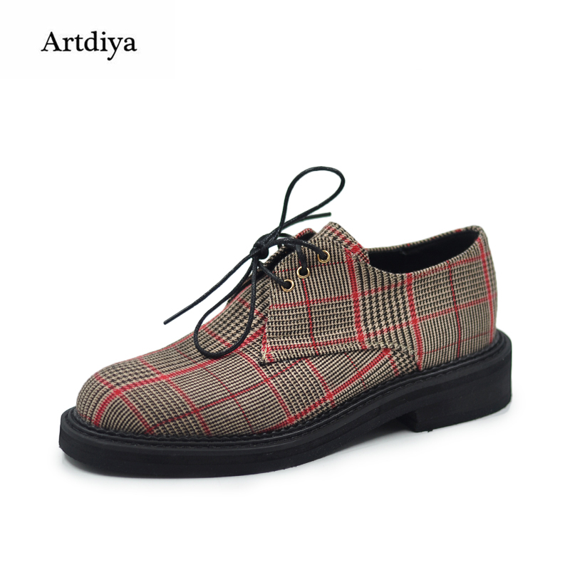 Artdiya Plover Grid Retro Original British Style Leisure Women Shoes Female 2018 New Four Seasons Handmade Shoes 18-56 5 pairs 1cm width british scotland plover grid style shoelaces canvas shoes sneakers flat shoes lace 70 80 90 100 110 120 130cm