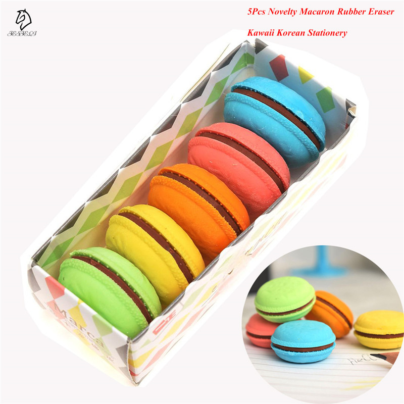 5Pcs Novelty Korean Stationery Rubber Eraser Colorful School Office Supplies Creative Macaron Eraser For Kids Gift Drop Shipping