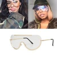 Dimshow 2017 New Retro Inspired Women Retro Inspired Women Sunglasses Oversize Shield Metal Half Frame Eyeglasses