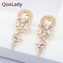 QooLady Trendy Gold Color Bridal Wedding Jewelry CZ Long Hanging Drop Women Earrings with Waterdrop Cubic Zirconia Stone E004 цены онлайн