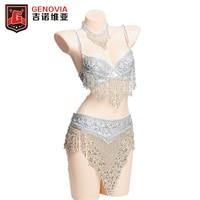 2019 Belly Dance Costume Clothes Oriental Bellydance Beaded Top Bra & Belt 3 Pcs Bras & Belt & Necklace Set Outfit Gold / Silver