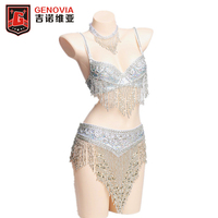 2019 Belly Dance Costume Clothes Oriental Bellydance Beaded Top Bra & Belt 3 Pcs Bras & Belt & Necklace Set Outfit Gold / Silver