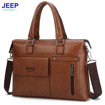 Briefcase Pu Leather Men Laptop Bag