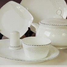 ceram dinnerware set 46pcs combination dish and plates bowls ceramic tableware bone china health