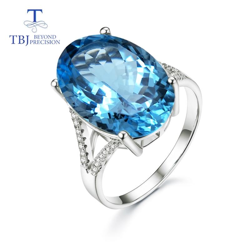 TBJ Super Big gemstone Ring Oval cut 13 18mm 15ct Blue topaz silver gemstone Ring for