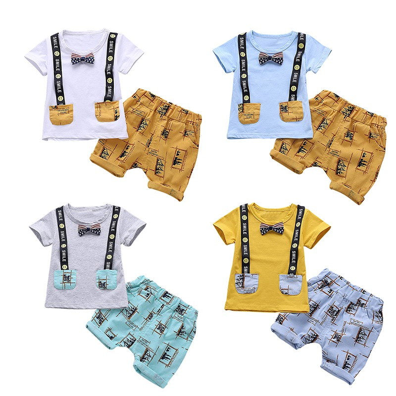 NEW Design Baby Boy T-shirt Set Cartoon Patterns Short Pants Summer Suit Cute Baby Newborn Clothes Girs