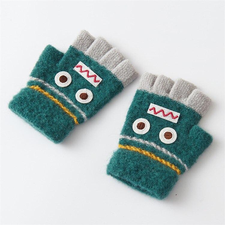 Варежки для детей подвергается Прихватки для мангала зима теплая половина палец Прихватки для мангала легко писать руки теплые Прихватки для мангала c6131 - Цвет: green