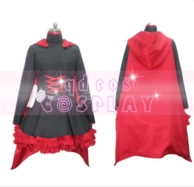 Free Shipping Hot Sale RWBY Cosplay Ruby Rose Red Dress Cloak Battle Uniform Hallowwen Carnival Party Supply Costume
