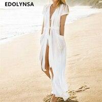 Tunic Beach Dress 2018 White Sexy Women Summer Dresses Long Solid Dress Tunic Plus Size Bohemian Tunic Beach Dresses #N364