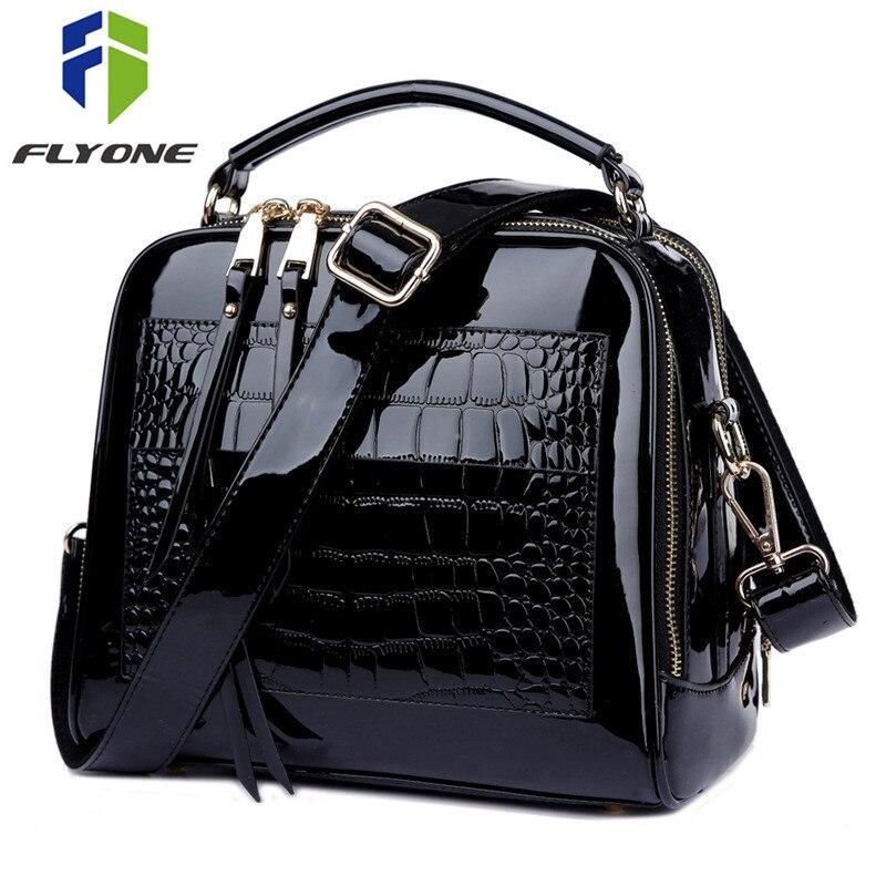 cf4b7cc9b5c3 FLYONE сумки через плечо для женщин 2019 сумки Крокодил лакированная кожа  Shopper Tote Сумка Bolsa Feminina