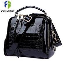 여성을위한 FLYONE Crossbody 가방 2019 여성 핸드백 악어 특허 가죽 구매자 토트 숄더 백 여성용 가방 Bolsa Feminina