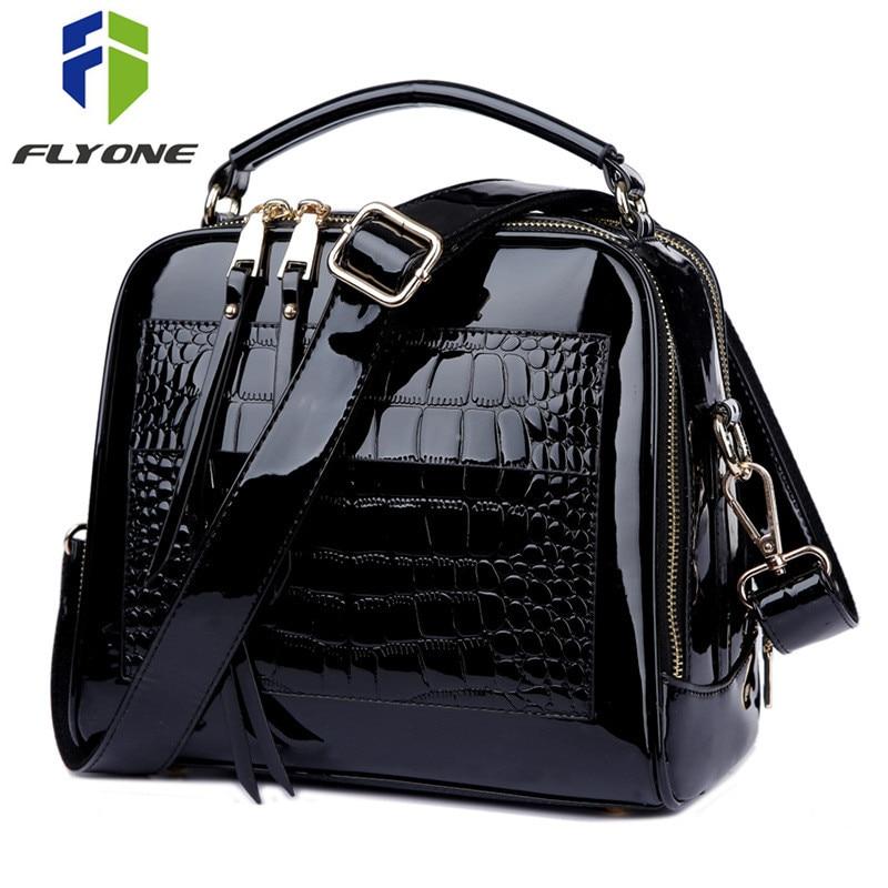 FLYONE Crossbody Bags for Women 2019 Women Handbag Crocodile Patent Leather Shopper Tote Shoulder Bag Women's Bag Bolsa Feminina-in Shoulder Bags from Luggage & Bags