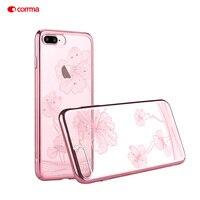 COMMA Case I7 I7 I7Plus Funda Coque Cornflower PC Plated Hard Casing Crystal For Apple IPhone