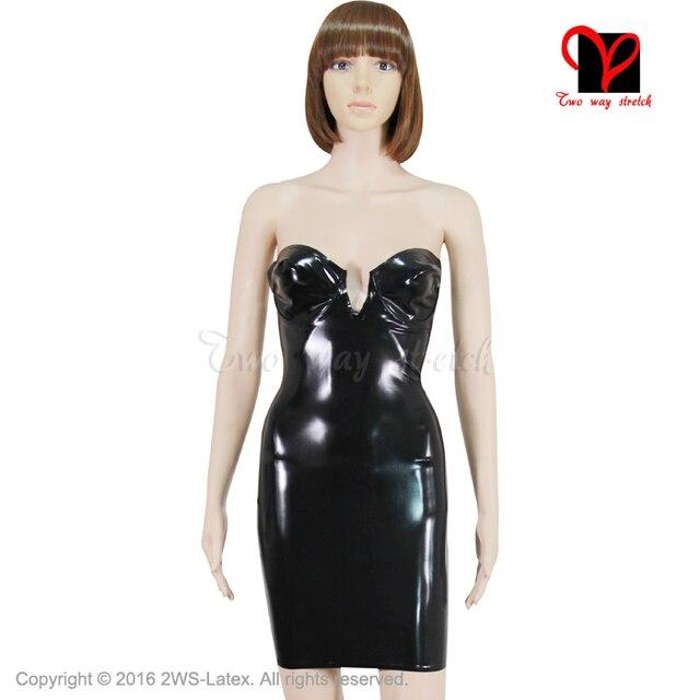 38067179f5ceb1 € 91.75  Sexy noir crayon Latex robe caoutchouc Bandeau moulante courte  minijupe Bustier au dessus du genou chérie combishort grande taille QZ 029  ...