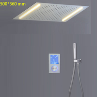 Digital Polished Rainfall Shower Panel Smart Touchscreen Thermostat System Faucet Set LED Shower Head 304SUS Light Need To Power