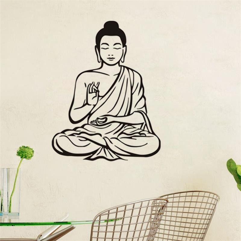 Moderní nástěnná samolepka pro obývací pokoj Shakya Muni Buddha Buddhismus Náboženství Vyjímatelná Tapeta Domácí dekorace pro nástěnné malby Nástěnné malby