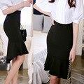 Moda Otoño 2015 Marca Casual mujeres de Cintura Alta Midi Lápiz Faldas de cola de Pescado de Las Mujeres Acampanados Femenina Falda Larga de Las Mujeres Negro Plus tamaño