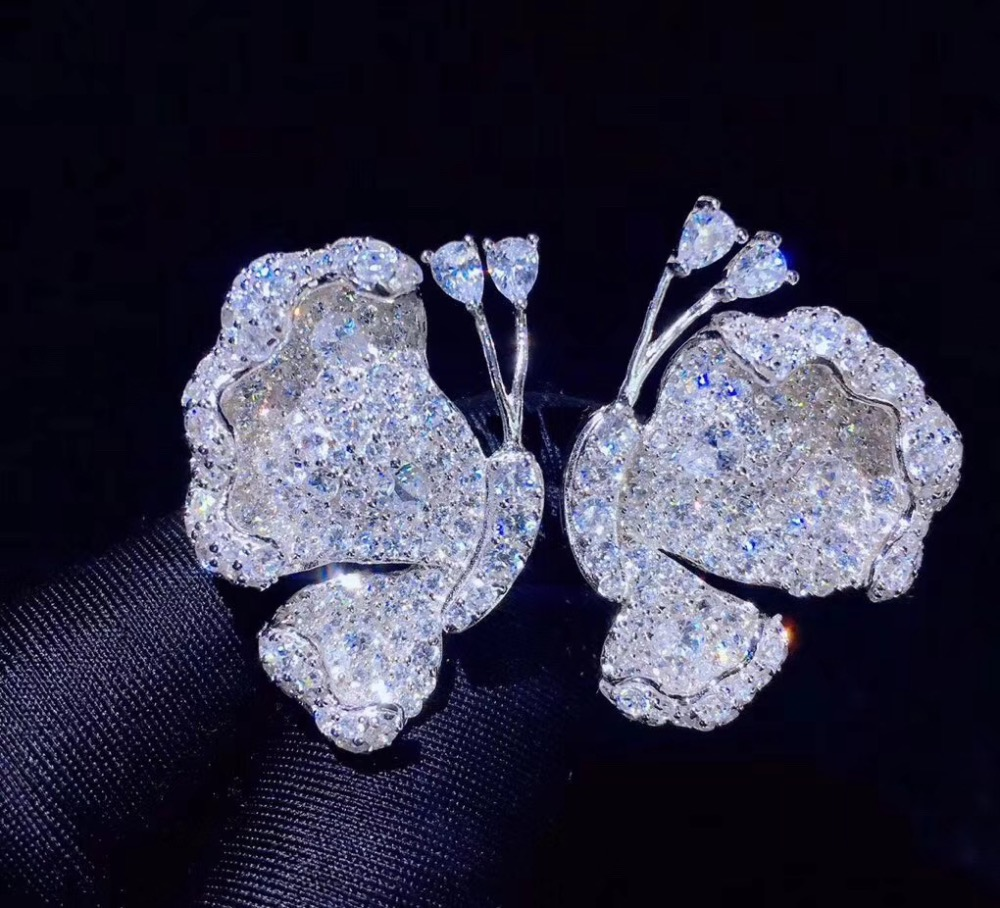 Boucle d'oreille papillon blanc insecte 925 argent sterling avec zircon cubique mignon romantique demi boucle d'oreille papillon bijoux de mode