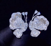 white butterfly stud earring insect 925 sterling silver with cubic zircon cute romantic half butterfly earring fashion jewelry