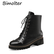 Bimolter Fashion Martin Boots Women Winter Lace-up Zip Soft Geniune Leather Shoes Female Bling Crystal Party Ankle LAEB030