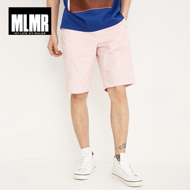 MLMR Men's Letter Patch Loose Fit 100% Cotton Washed   Shorts   M|218215511