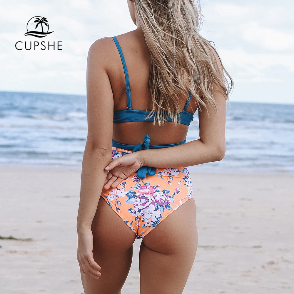 CUPSHE Blue Wrap And Floral High-waisted Bikini Sets Women Sexy Push Up Two Pieces Swimsuits 2020 Girl Beach Bathing Suits 4