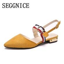 SEGGNICE Women Low Heel Sandals Shoes Rivet Flat Square Heel Shoes Summer 2019 Women's Fashion Shoes Pointed Toe Ladies Sandals цена в Москве и Питере